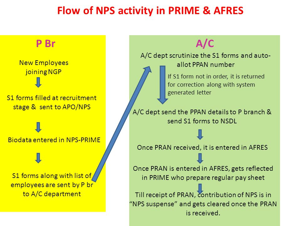 Flow of NPS activity in PRIME & AFRES New Employees joining NGP S1 forms filled at recruitment stage & sent to APO/NPS Biodata entered in NPS-PRIME S1 forms along with list of employees are sent by P br to A/C department P BrA/C A/C dept scrutinize the S1 forms and auto- allot PPAN number If S1 form not in order, it is returned for correction along with system generated letter A/C dept send the PPAN details to P branch & send S1 forms to NSDL Once PRAN received, it is entered in AFRES Once PRAN is entered in AFRES, gets reflected in PRIME who prepare regular pay sheet Till receipt of PRAN, contribution of NPS is in NPS suspense and gets cleared once the PRAN is received.