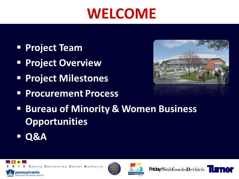 WELCOME  Project Team  Project Overview  Project Milestones  Procurement Process  Bureau of Minority & Women Business Opportunities  Q&A