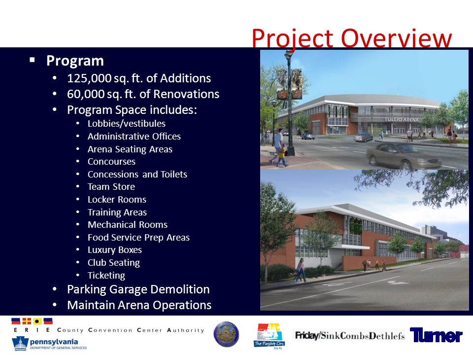 Project Overview  Program 125,000 sq. ft. of Additions 60,000 sq. ft. of Renovations Program Space includes: Lobbies/vestibules Administrative Office