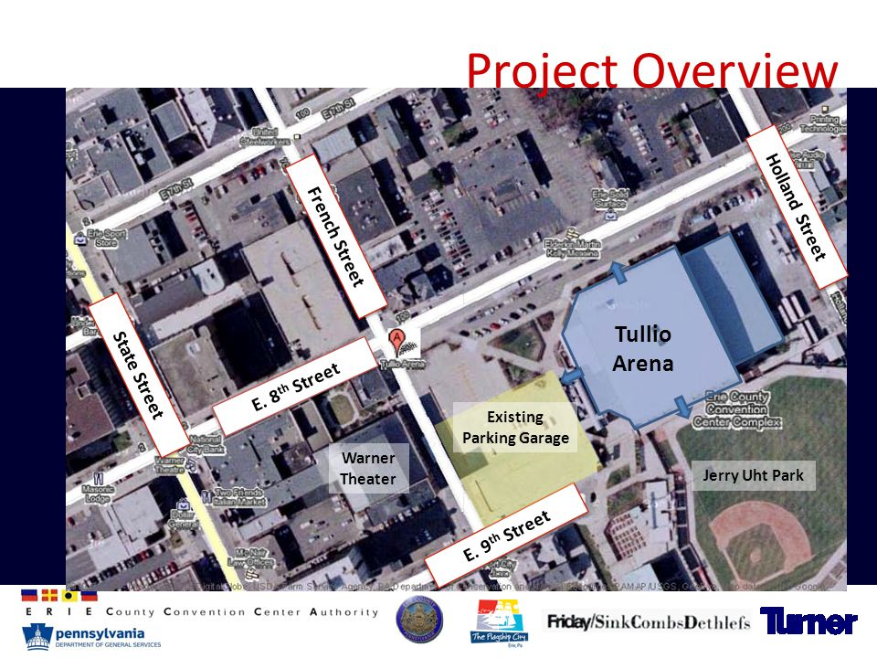 Project Overview French Street E. 8 th Street E. 9 th Street Holland Street Tullio Arena Warner Theater Jerry Uht Park State Street Existing Parking G