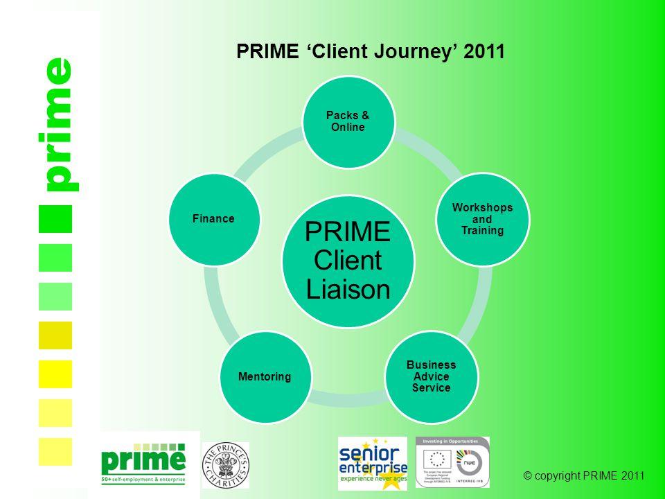 © copyright PRIME 2011 prime PRIME 'Client Journey' 2011 PRIME Client Liaison Packs & Online Workshops and Training Business Advice Service MentoringFinance