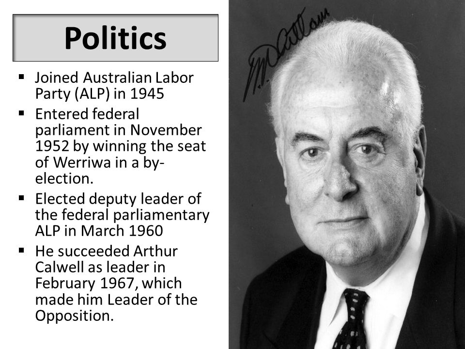 Politics  Joined Australian Labor Party (ALP) in 1945  Entered federal parliament in November 1952 by winning the seat of Werriwa in a by- election.