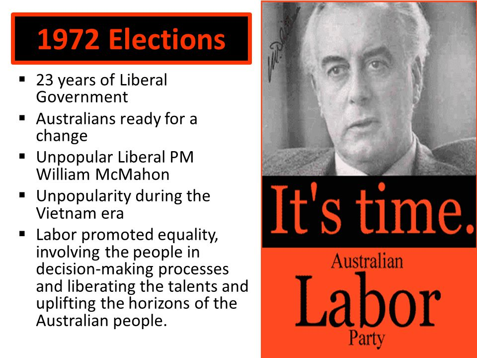 1972 Elections  23 years of Liberal Government  Australians ready for a change  Unpopular Liberal PM William McMahon  Unpopularity during the Vietnam era  Labor promoted equality, involving the people in decision-making processes and liberating the talents and uplifting the horizons of the Australian people.