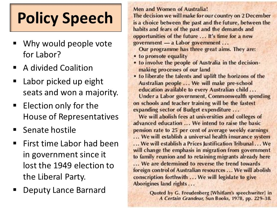 Policy Speech  Why would people vote for Labor.