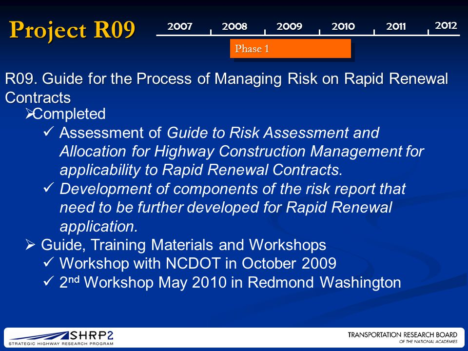 20072008200920102011 2012 Project R09   Completed Assessment of Guide to Risk Assessment and Allocation for Highway Construction Management for applicability to Rapid Renewal Contracts.