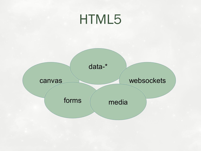 HTML5 canvas data-* websockets forms media