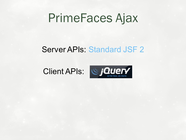 Server APIs: Standard JSF 2 Client APIs: PrimeFaces Ajax