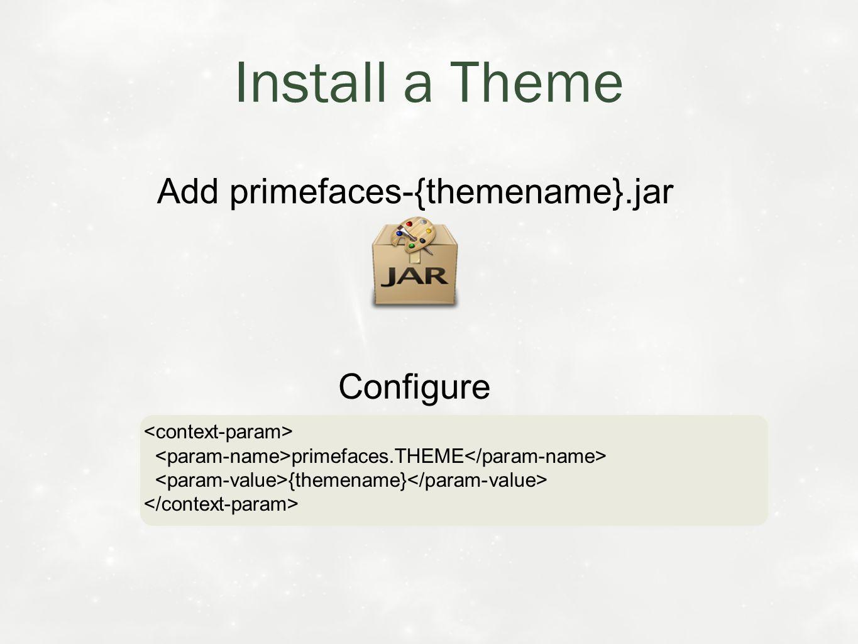 Install a Theme Add primefaces-{themename}.jar Configure primefaces.THEME {themename} primefaces.THEME {themename}