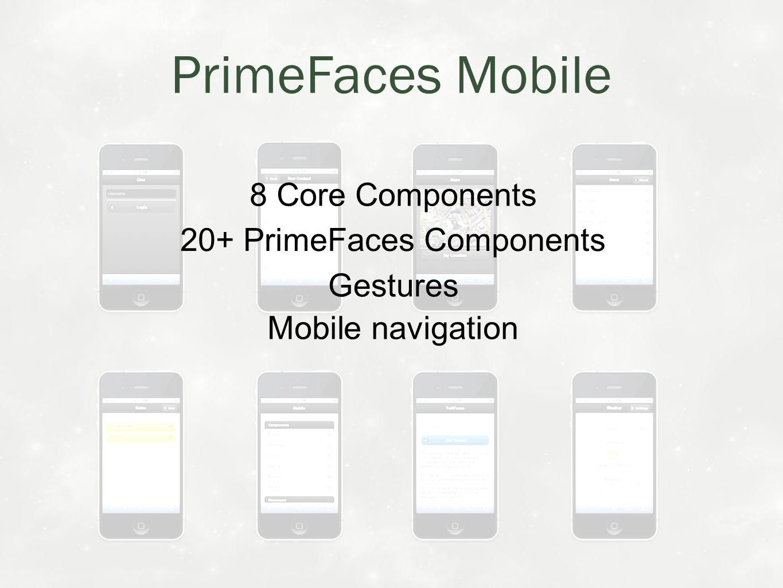 Mobile navigation 8 Core Components Gestures 20+ PrimeFaces Components