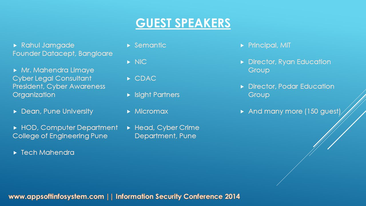GUEST SPEAKERS  Rahul Jamgade Founder Datacept, Bangloare  Mr.