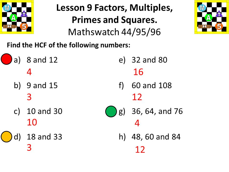 HCF = 8 Lesson 9 Factors, Multiples, Primes and Squares. Mathswatch 44/95/96