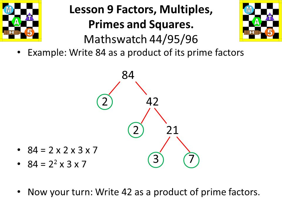 "We can use a 'factor tree' to enable us to write a number as ""a product of its prime factors"" Each time you reach a prime number, you stop and circle"