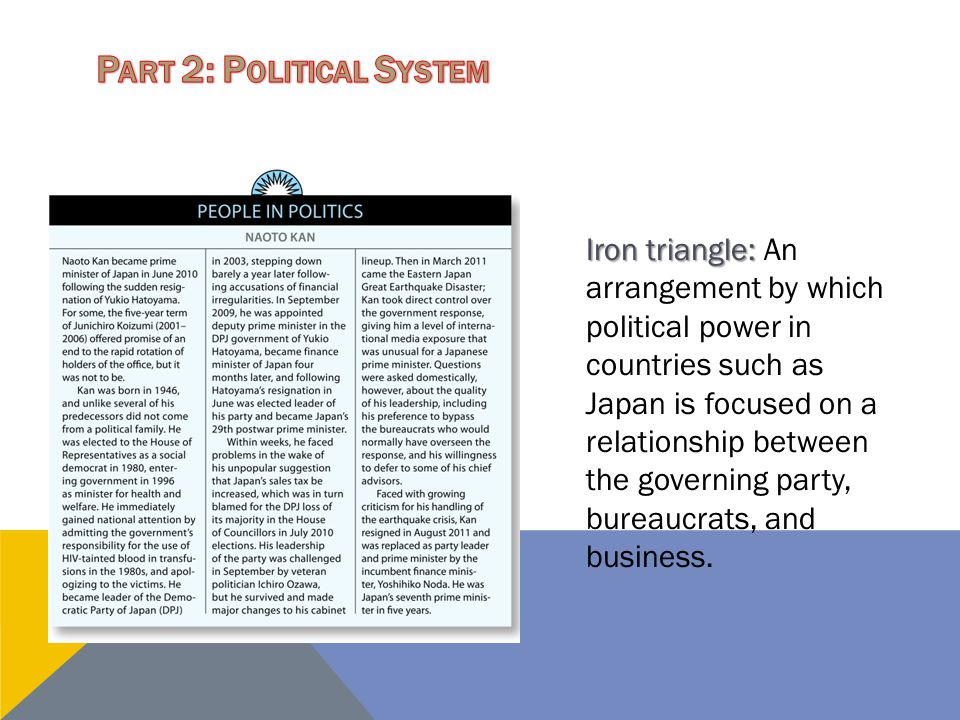 Iron triangle: Iron triangle: An arrangement by which political power in countries such as Japan is focused on a relationship between the governing pa