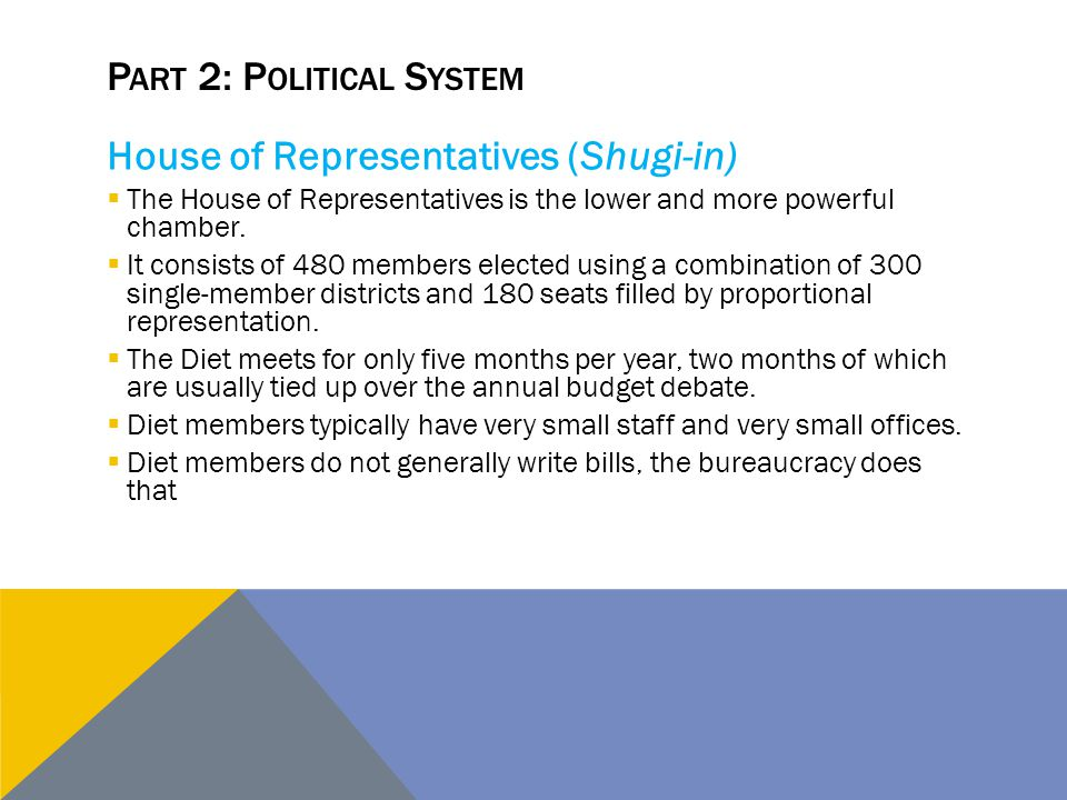 P ART 2: P OLITICAL S YSTEM House of Representatives (Shugi-in)  The House of Representatives is the lower and more powerful chamber.  It consists o