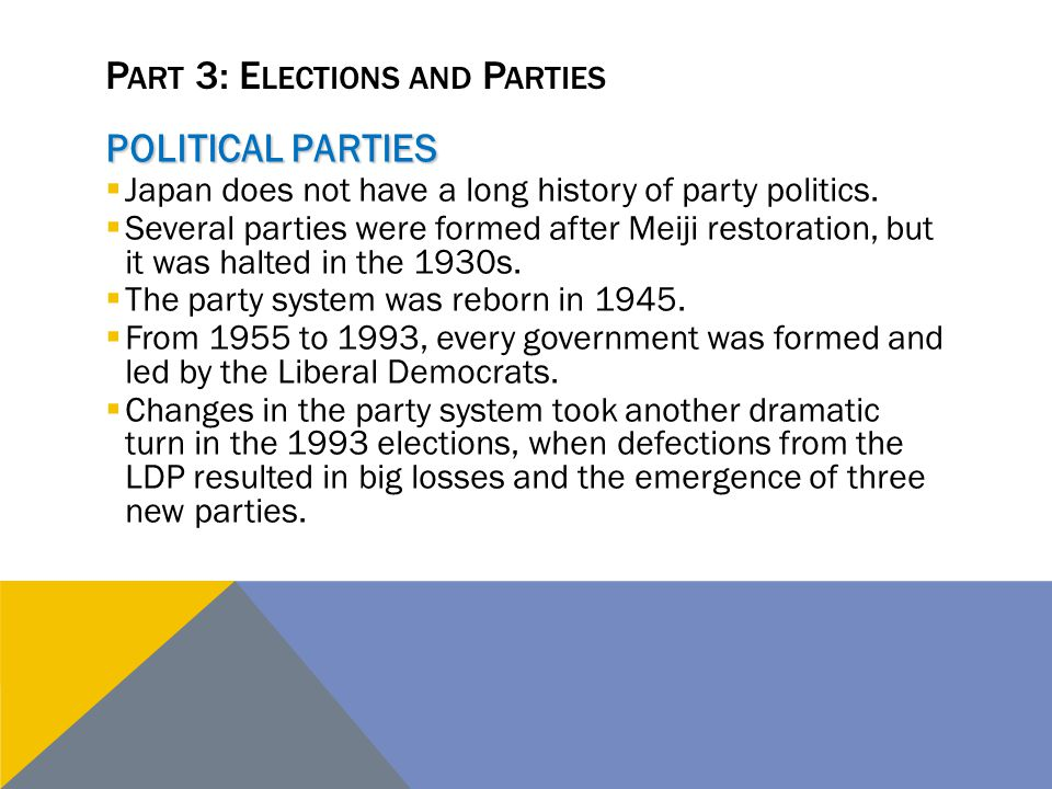 P ART 3: E LECTIONS AND P ARTIES POLITICAL PARTIES  Japan does not have a long history of party politics.  Several parties were formed after Meiji r