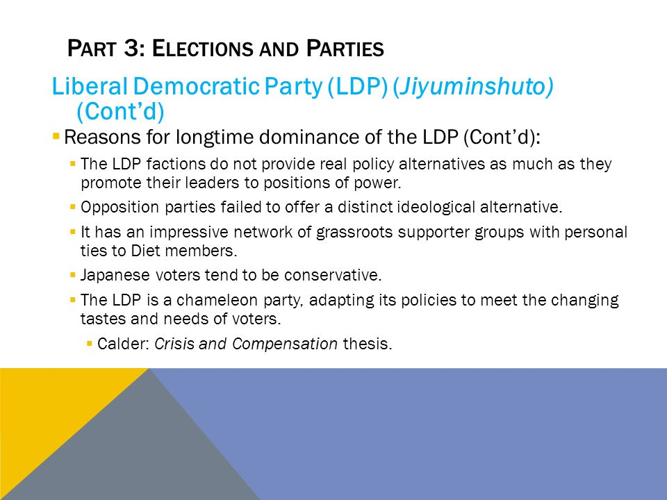 P ART 3: E LECTIONS AND P ARTIES Liberal Democratic Party (LDP) (Jiyuminshuto) (Cont'd)  Reasons for longtime dominance of the LDP (Cont'd):  The LD