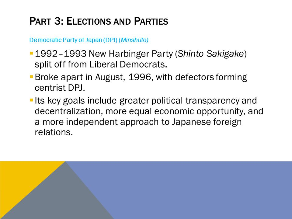 Democratic Party of Japan (DPJ) (Minshuto)  1992–1993 New Harbinger Party (Shinto Sakigake) split off from Liberal Democrats.  Broke apart in August