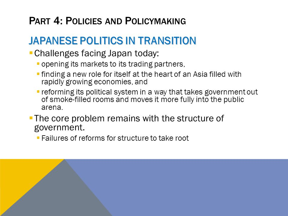 P ART 4: P OLICIES AND P OLICYMAKING JAPANESE POLITICS IN TRANSITION  Challenges facing Japan today:  opening its markets to its trading partners, 