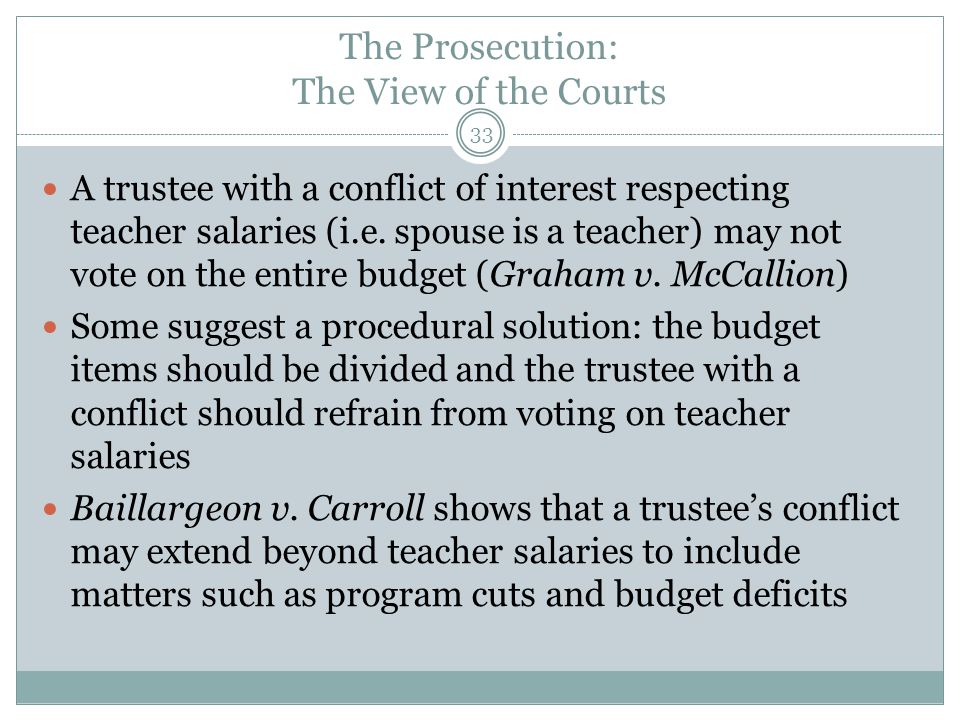 33 A trustee with a conflict of interest respecting teacher salaries (i.e. spouse is a teacher) may not vote on the entire budget (Graham v. McCallion