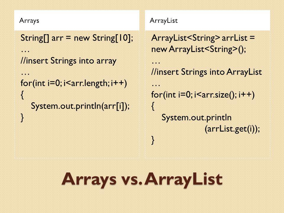Arrays vs. ArrayList ArraysArrayList String[] arr = new String[10]; … //insert Strings into array … for(int i=0; i<arr.length; i++) { System.out.print
