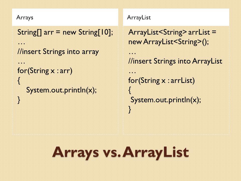 Arrays vs. ArrayList ArraysArrayList String[] arr = new String[10]; … //insert Strings into array … for(String x : arr) { System.out.println(x); } Arr