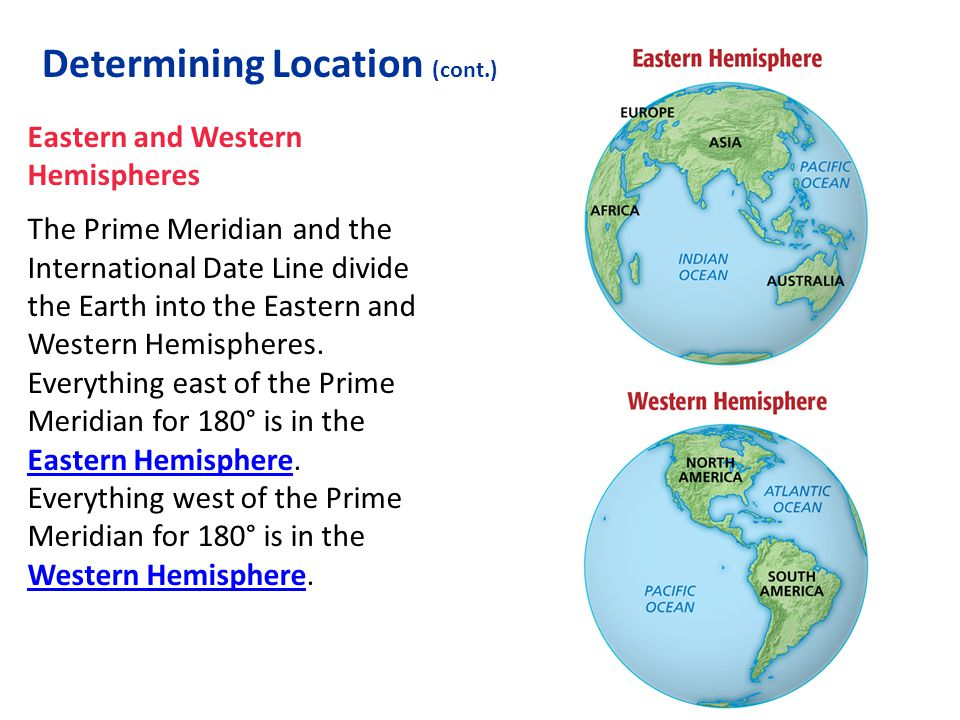 Eastern and Western Hemispheres The Prime Meridian and the International Date Line divide the Earth into the Eastern and Western Hemispheres. Everythi