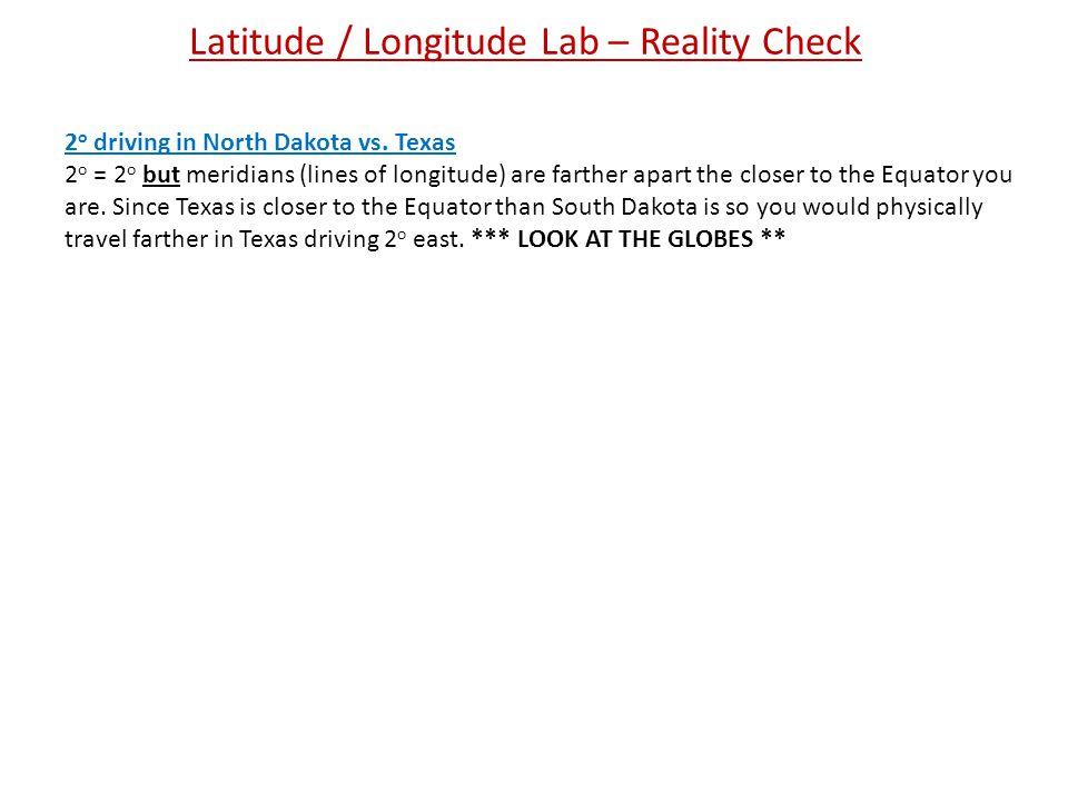 Latitude / Longitude Lab – Reality Check 2 o driving in North Dakota vs.