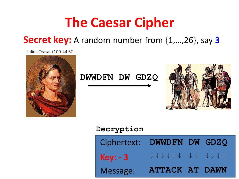 The Caesar Cipher Julius Ceasar (100-44 BC) Ciphertext: DWWDFN DW GDZQ Key: - 3 Message: ↓↓↓↓↓↓ ↓↓ ↓↓↓↓ ATTACK AT DAWN DWWDFN DW GDZQ Decryption Secret key: A random number from {1,…,26}, say 3