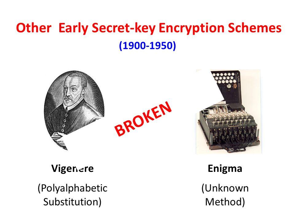 Other Early Secret-key Encryption Schemes VigenereEnigma (1900-1950) (Polyalphabetic Substitution) (Unknown Method) BROKEN