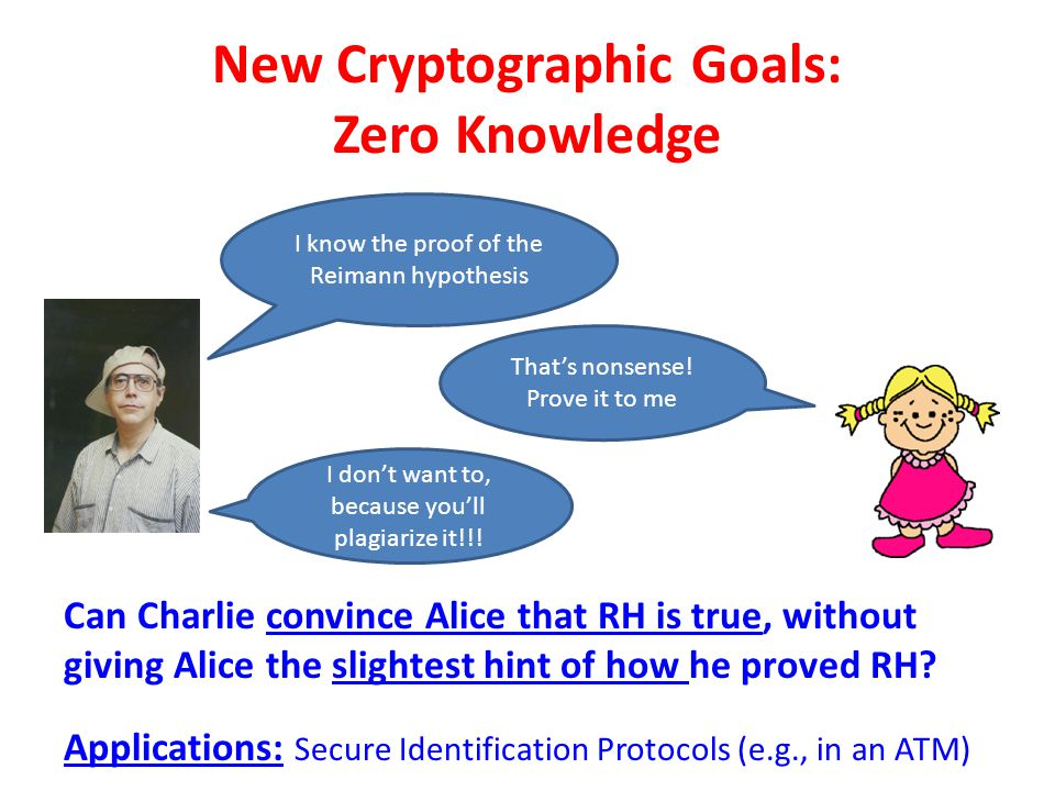 New Cryptographic Goals: Zero Knowledge I know the proof of the Reimann hypothesis That's nonsense! Prove it to me I don't want to, because you'll pla