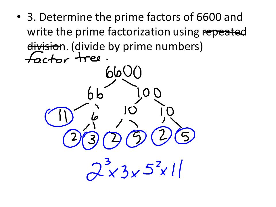 3. Determine the prime factors of 6600 and write the prime factorization using repeated division.