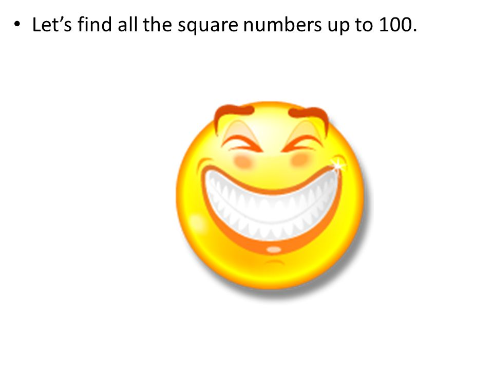 Let's find all the square numbers up to 100.