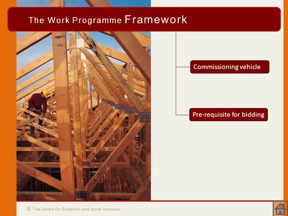 The WP Framework © The Centre for Economic and Social Inclusion The Work Programme Framework Commissioning vehicle Pre-requisite for bidding