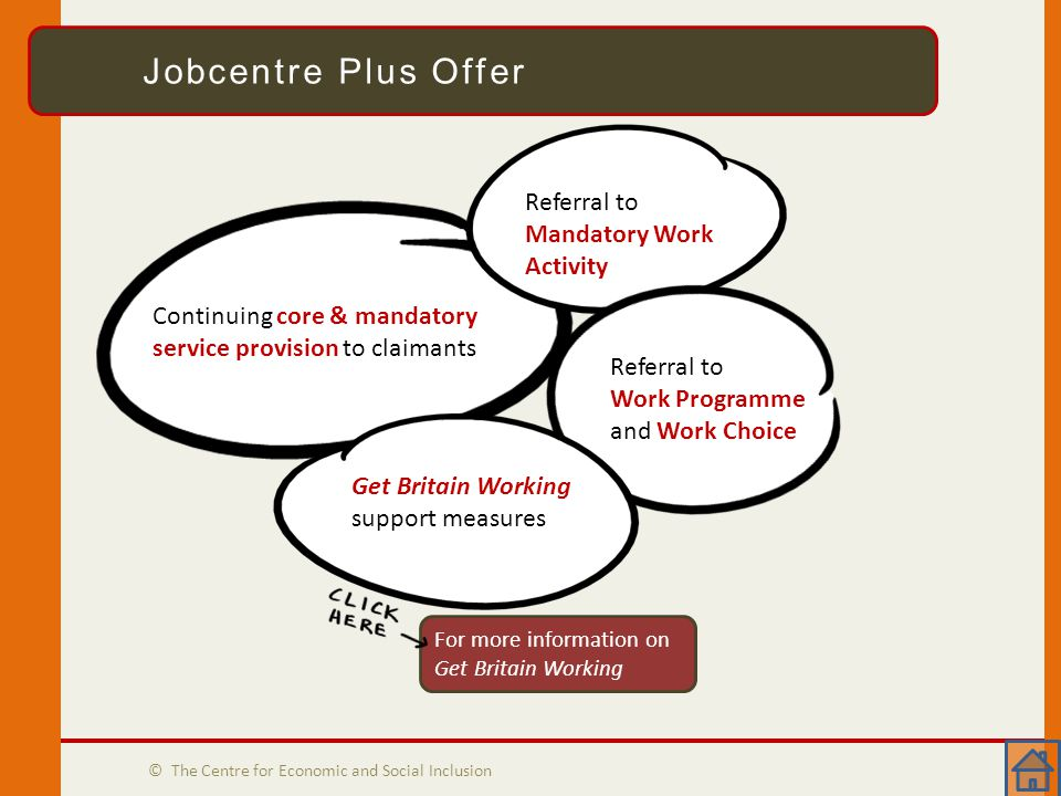 Jobcentre Plus Offer © The Centre for Economic and Social Inclusion Jobcentre Plus Offer Continuing core & mandatory service provision to claimants Referral to Mandatory Work Activity Referral to Work Programme and Work Choice Get Britain Working support measures For more information on Get Britain Working