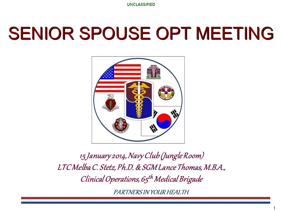 UNCLASSIFIED PARTNERS IN YOUR HEALTH UNCLASSIFIED 1 SENIOR SPOUSE OPT MEETING 15 January 2014, Navy Club (Jungle Room) LTC Melba C. Stetz, Ph.D. & SGM