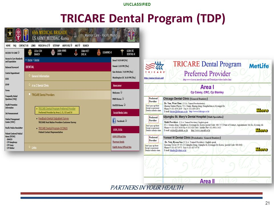 UNCLASSIFIED PARTNERS IN YOUR HEALTH UNCLASSIFIED 21 TRICARE Dental Program (TDP)