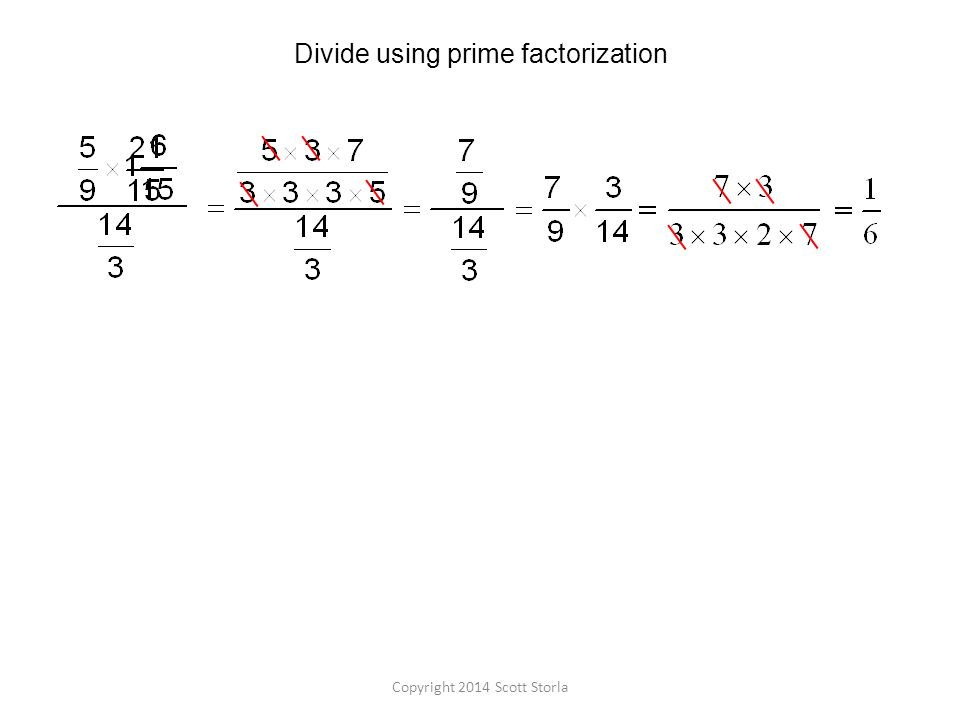 Divide using prime factorization Copyright 2014 Scott Storla