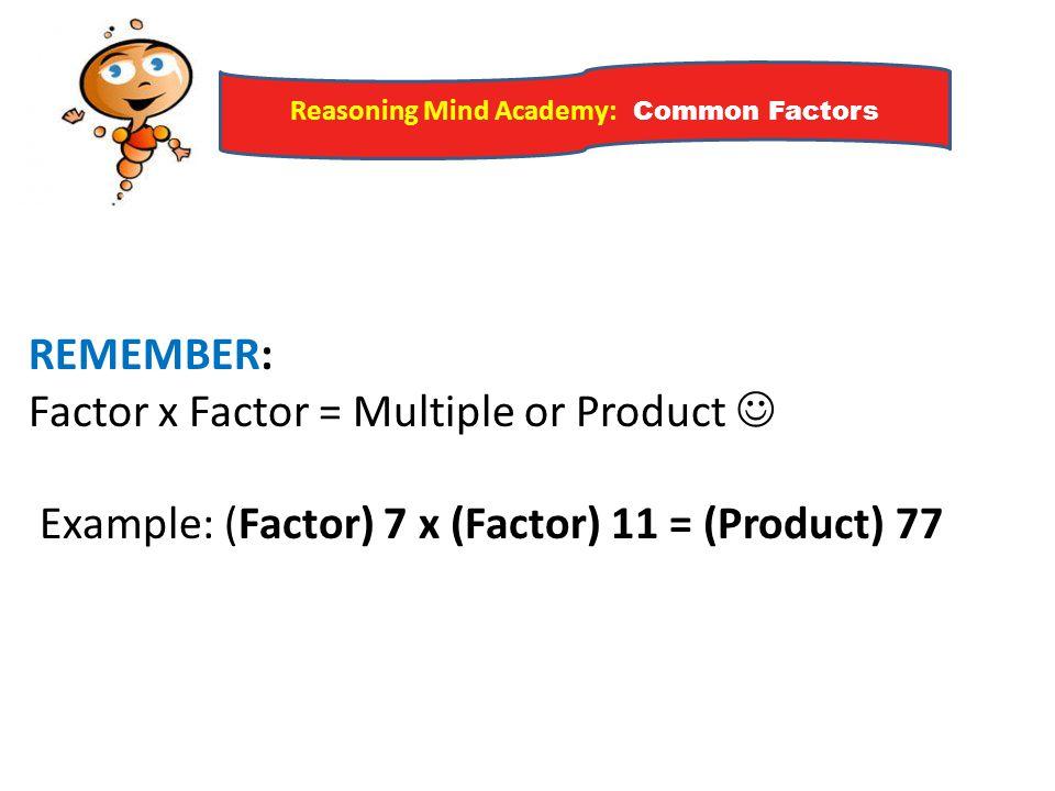 Reasoning Mind Academy: Common Factors Draw a Venn Diagram.