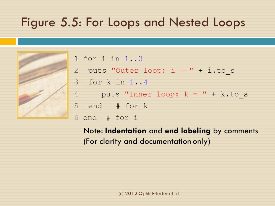 Figure 5.5: For Loops and Nested Loops 1 for i in 1..3 2 puts Outer loop: i = + i.to_s 3 for k in 1..4 4 puts Inner loop: k = + k.to_s 5 end # for k 6 end # for i Note: Indentation and end labeling by comments (For clarity and documentation only) (c) 2012 Ophir Frieder et al