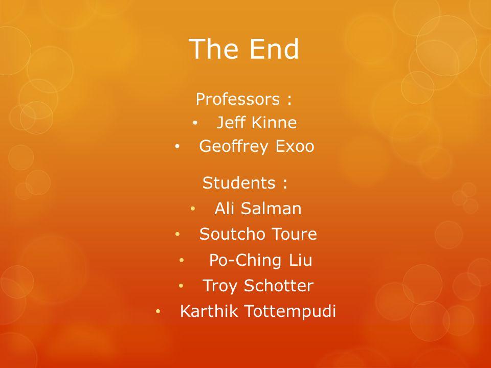 The End Students : Ali Salman Soutcho Toure Po-Ching Liu Troy Schotter Karthik Tottempudi Professors : Jeff Kinne Geoffrey Exoo