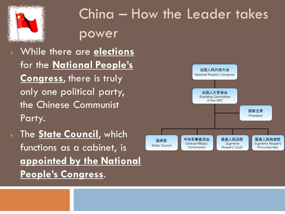 China – How the Leader takes power  While there are elections for the National People's Congress, there is truly only one political party, the Chines