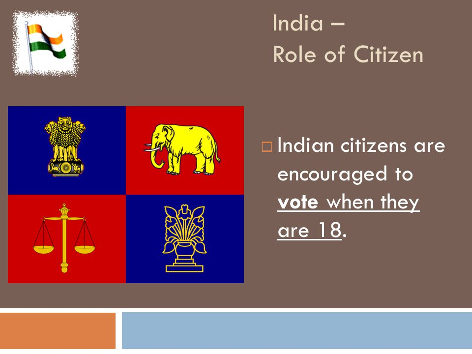 India – Role of Citizen  Indian citizens are encouraged to vote when they are 18.