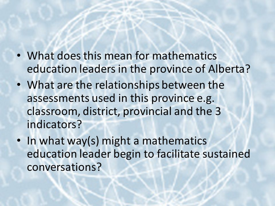 What does this mean for mathematics education leaders in the province of Alberta.