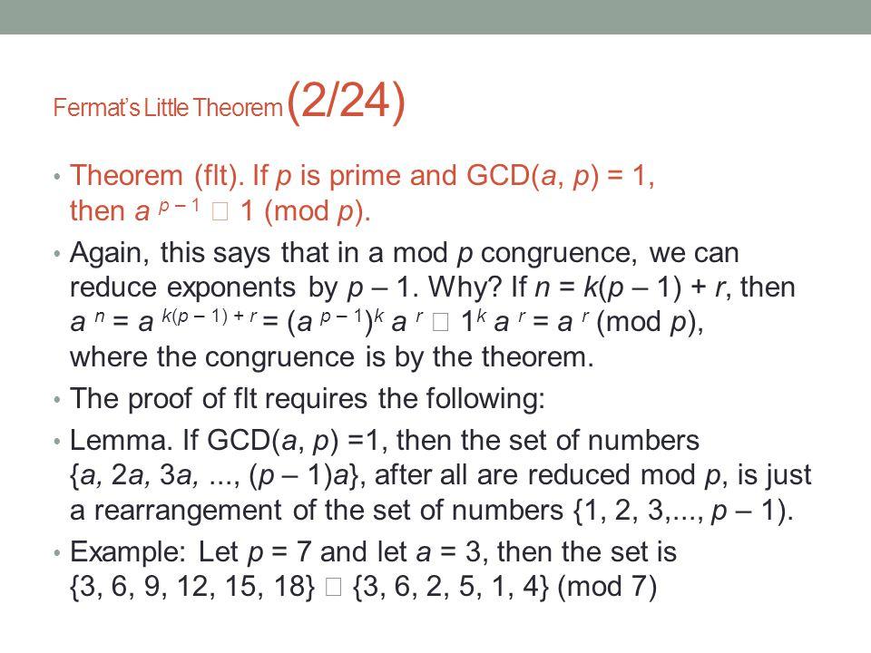 Fermat's Little Theorem (2/24) Theorem (flt).