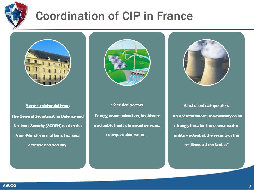 Coordination of CIP in France ANSSI 2 A cross-ministerial issue The General Secretariat for Defense and National Security (SGDSN) assists the Prime Minister in matters of national defense and security.