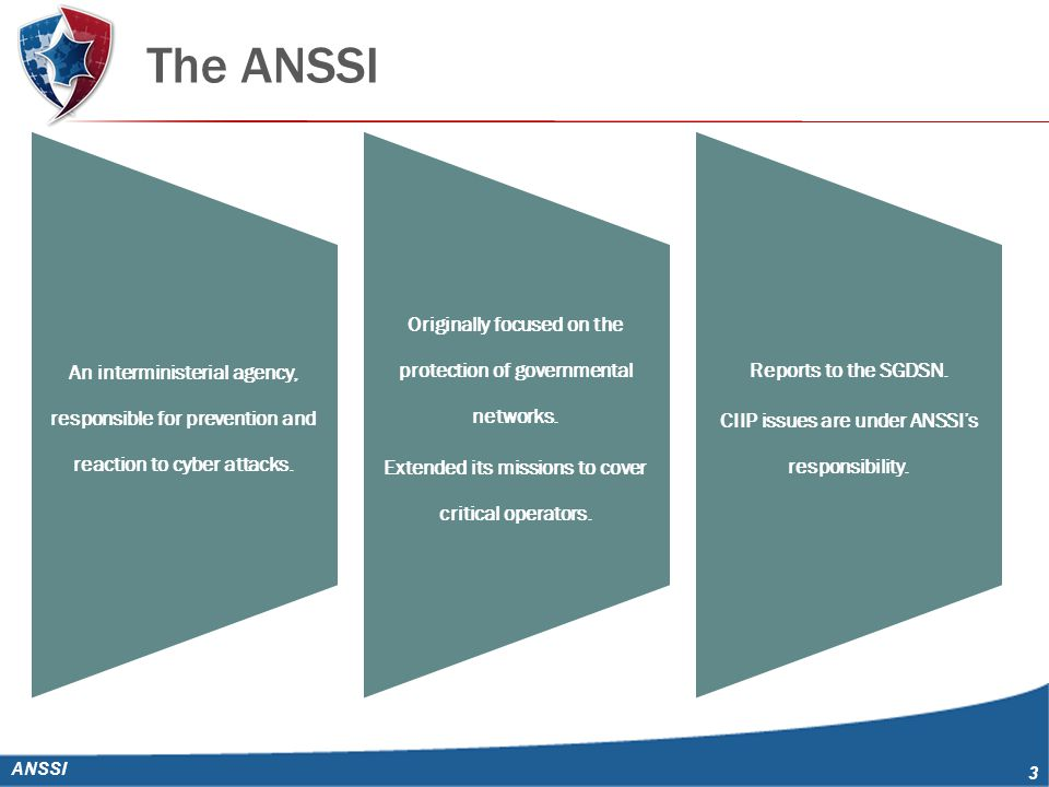 The ANSSI ANSSI 3 An interministerial agency, responsible for prevention and reaction to cyber attacks.