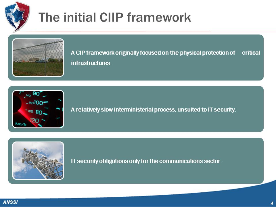 The initial CIIP framework ANSSI 4 A CIP framework originally focused on the physical protection of critical infrastructures.