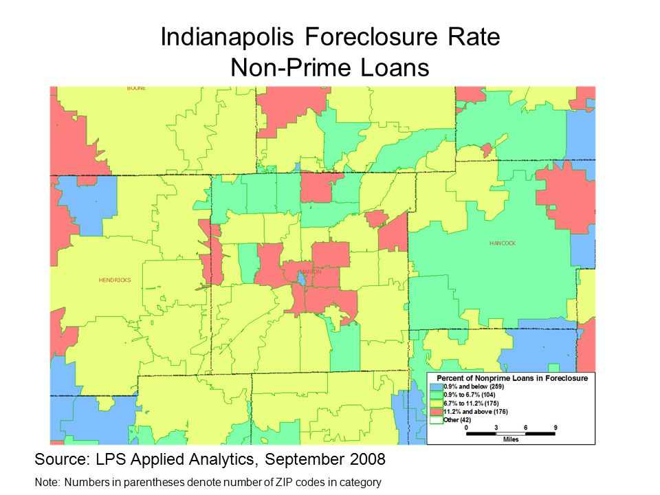 Indianapolis Foreclosure Rate Non-Prime Loans Source: LPS Applied Analytics, September 2008 Note: Numbers in parentheses denote number of ZIP codes in category