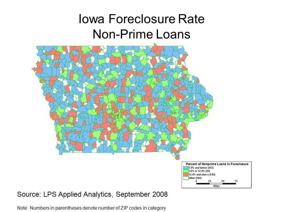 Iowa Foreclosure Rate Non-Prime Loans Source: LPS Applied Analytics, September 2008 Note: Numbers in parentheses denote number of ZIP codes in category