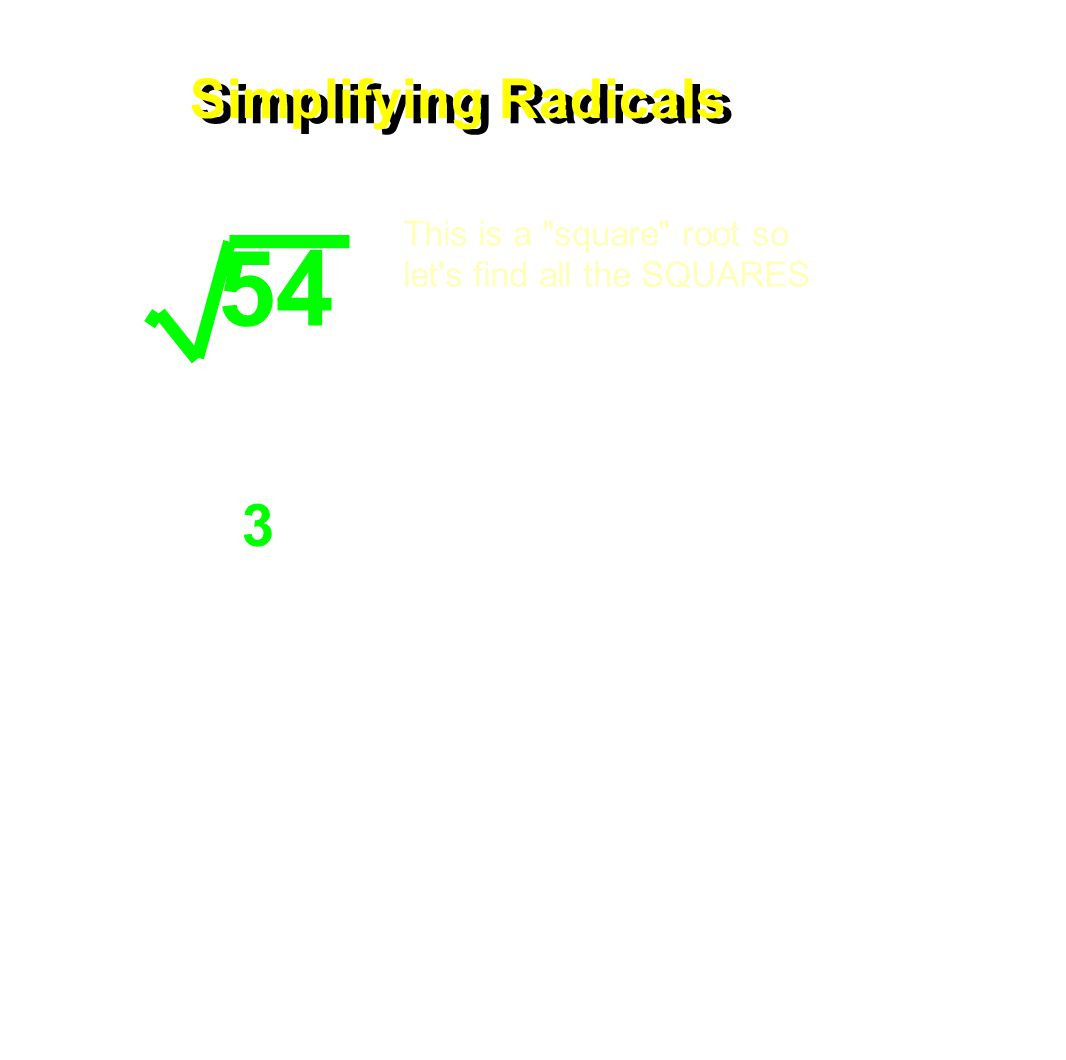 Simplifying Radicals 54 This is a square root so let s find all the SQUARES OR...Rewrite and pull out the perfect squares 2 3 3 2 3